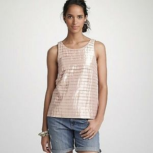 J. Crew rose gold metallic pleated sleeveless top